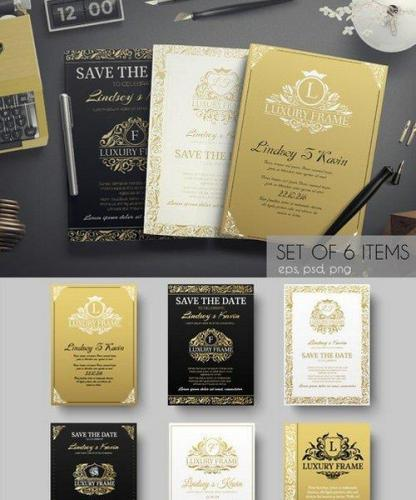 Set of gold luxury cards - vector