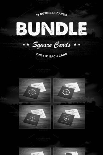 12 Square Business Cards Bundle