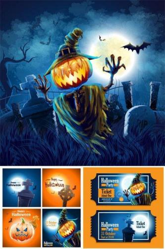 Halloween vector background with pumpkins