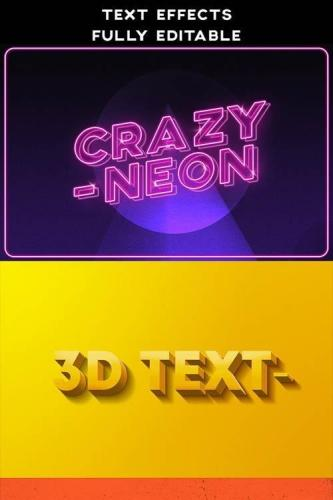 Text Effects Vintage 3D Retro Neon