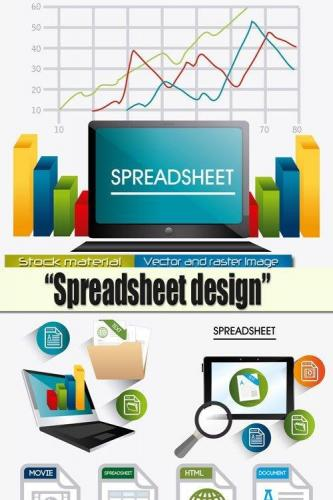 Infographics in Vector  Spreadsheet design 1