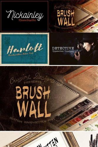 4 Custom Fonts, Brushwall, Detective, Harlott, Nickainley