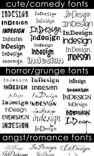 Cute-Comedy, Horror-Grunge and Angst-Romance Fonts