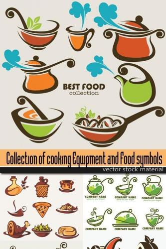 Collection of cooking Equipment and Food symbols